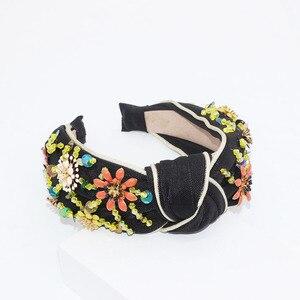 Image 5 - New European and American Baroque rice beads headband Bohemian fashion flowers wrapped personality dance headband 950