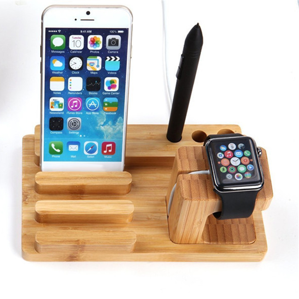 Multifunctional Bamboo Tablet Watch Phone Holder Table Stand Home Desk Organizer