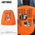 Homens Tee de GRANDES DIMENSÕES de manga comprida camisas de Rua Americano Topos de Hip hop Rapper T-shirt HEYBIG Drop-ombro Roupas TAMANHO CN