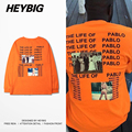 OVERSIZED Long sleeved Men Tee shirts American Street Hip hop Tops Rapper T-shirts HEYBIG Drop-shoulder Clothing CN SIZE
