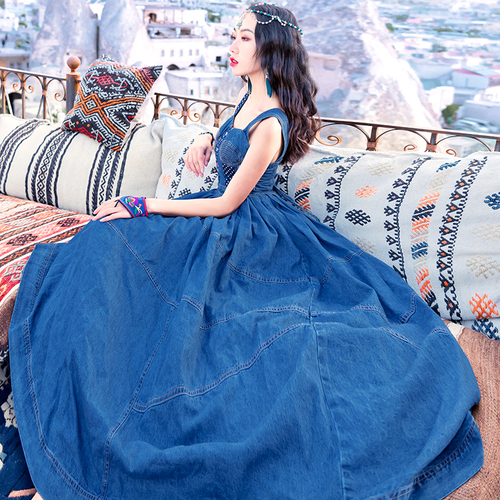 Nouveau été Sexy taille haute femmes robe couture douce Vintage Floral tissu Maxi Denim robe sangle femmes Denims robes