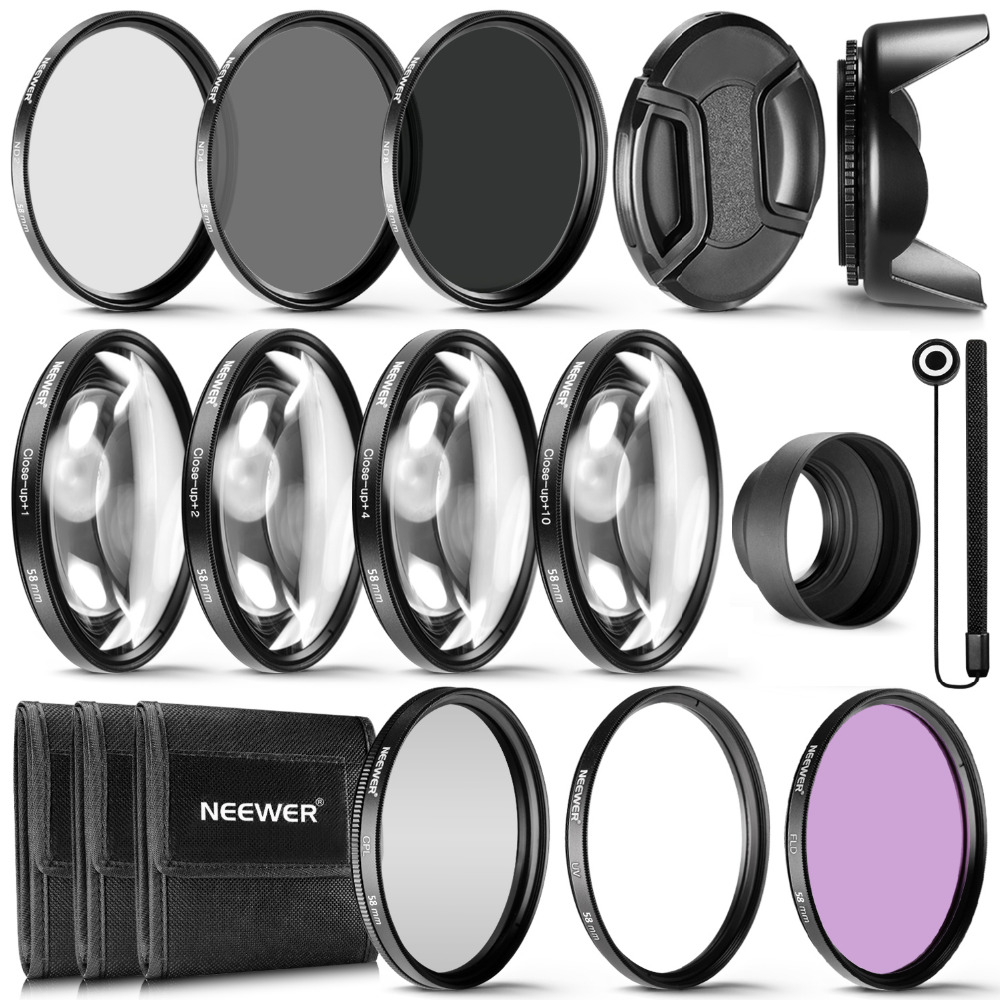 Neewer 58MM Complete Lens Filter Accessory Kit for 58MM Filter Size Lenses:UV CPL FLD Filter Set+Macro Close Up Set+ND Filter 3 in 1 zomei universal 37mm cpl close up filter nd2 400 nd fader filter kit professional m1 phone lens filter for iphone samsung