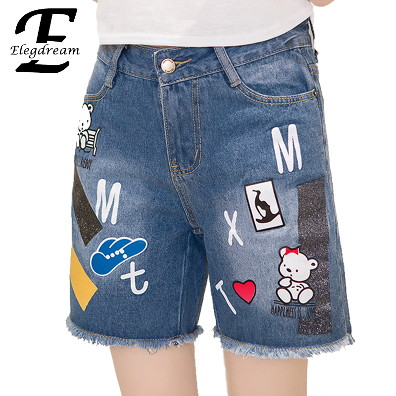 Elegdream Fashion Print Women Denim Shorts 2017 Summer Mid Waist Short Jeans Slim Ripped Female Jeans Shorts Feminino Blue S XL женские шорты short jeans 2015 feminino slim