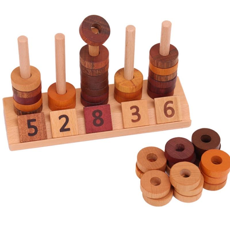 New Wooden Montessori Math Toys Digital Shape Beading ...