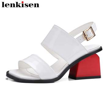 Lenkisen movie stars vintage summer peep toe runway party handmade show med strange heels cow leather big size women sandals L47