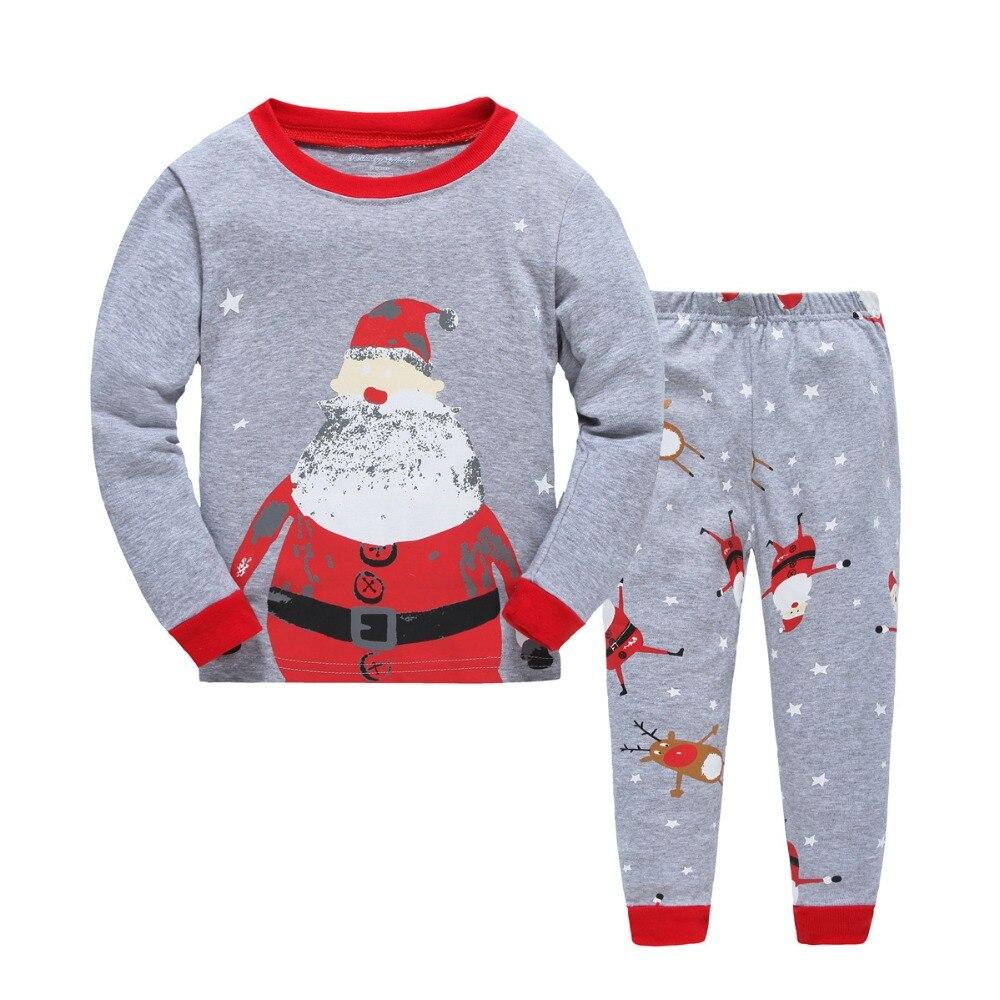 f574efac540ae De noël Pyjamas Enfants À Manches Longues Bébé Garçons Filles de Bande  Dessinée De Noël nightwearT-shirt + Pantalon 2 pcs ensemble de Nuit 2 ~ 7Y  H00109