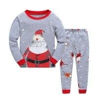 Christmas Pyjamas Kids Long Sleeve Baby Boys Girls Cartoon Christmas Pajamas T Shirt Pants 2pcs Set