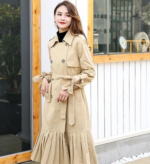 High fashion SLim waistline Double buttons design Tassel autumn long   trench   coats plus size ys022