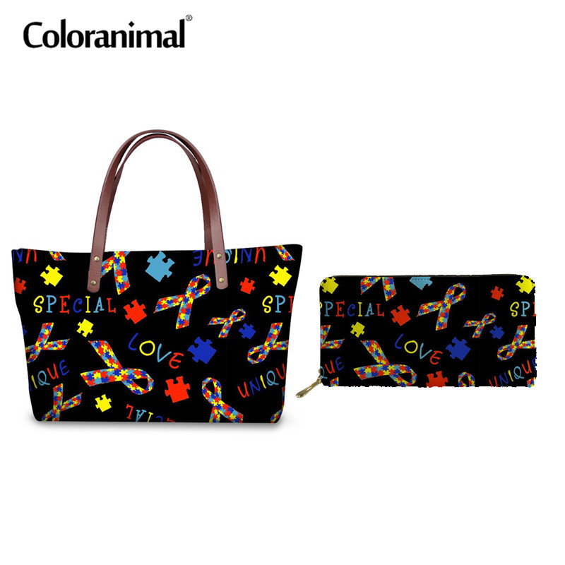 Coloranimal Neoprene Top handle Bag Women Set Tote Bag Brand Design Autism Awareness Printing Sac Feminino Large Handbag Ladies in Shoulder Bags from Luggage Bags