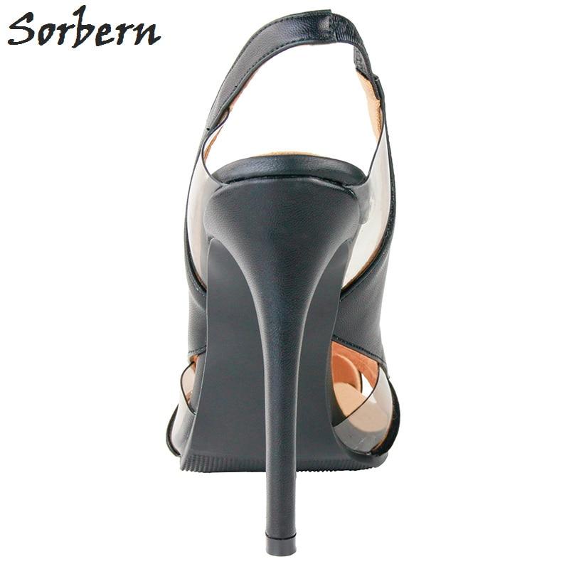 Pvc Chaussures Sorbern Noir 2018 Pompes Femmes Chaussure custom Bande Offre Pointu Talons Élastique Color Bout Spéciale Femme Noir xZ10xnp