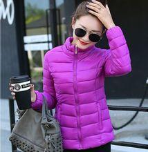 Размер L ~ 4XL Плюс Размер Фиолетовый Женщины Down Зимняя Пальто Хлопка 2016 новый 8 Цвет Молнии Теплый Тонкий Тонкий Пальто Твердые Карманы Парки