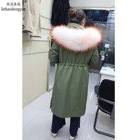 Linhaoshengyue меховой воротник из натурального меха норки пальто с капюшоном