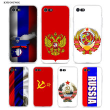Transparent Soft Silicone Phone Case Flag Russian Federation Red Army for iPhone XS X XR Max 8 7 6 6S Plus 5 5S SE