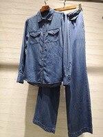2019 Весенние новые костюмы женская джинсовая рубашка, блузка + широкие брюки комплекты из 2 предметов ddxgz3