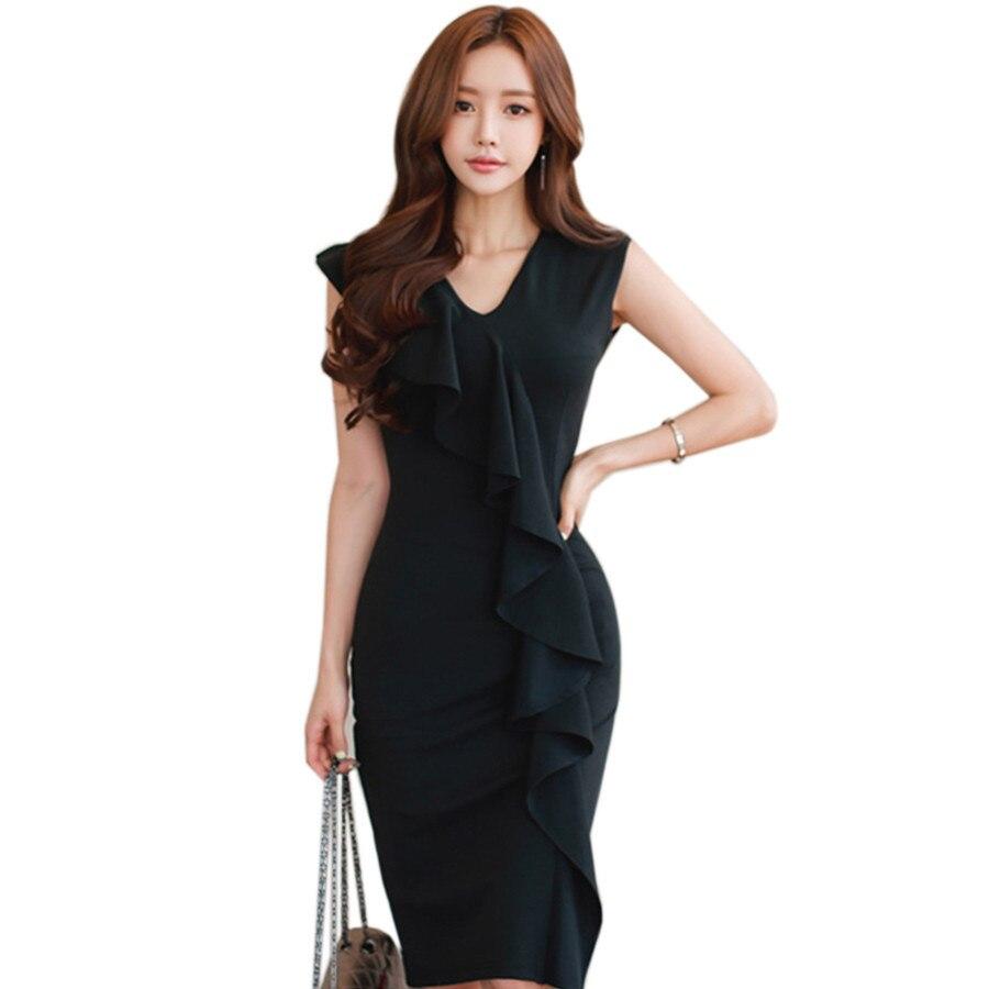 Black dress korean - Korean Fashion Sexy Deep V Neck Evening Party Dresses Women Ruffle Black Bodycon Dress Ladies