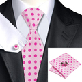 Lazos de Los Mens Hotpink Dot Tela De Seda Hombres Corbata Hanky Gemelos Set del banquete de Boda del Lazo Para Hombre C-756