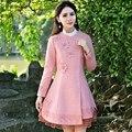 Женщины Шерстяное Пальто Китайском Стиле Лолита Вышивка С Длинным Рукавом Тонкая Талия Розовый Цвет Пальто Осень-Зима Новое Прибытие
