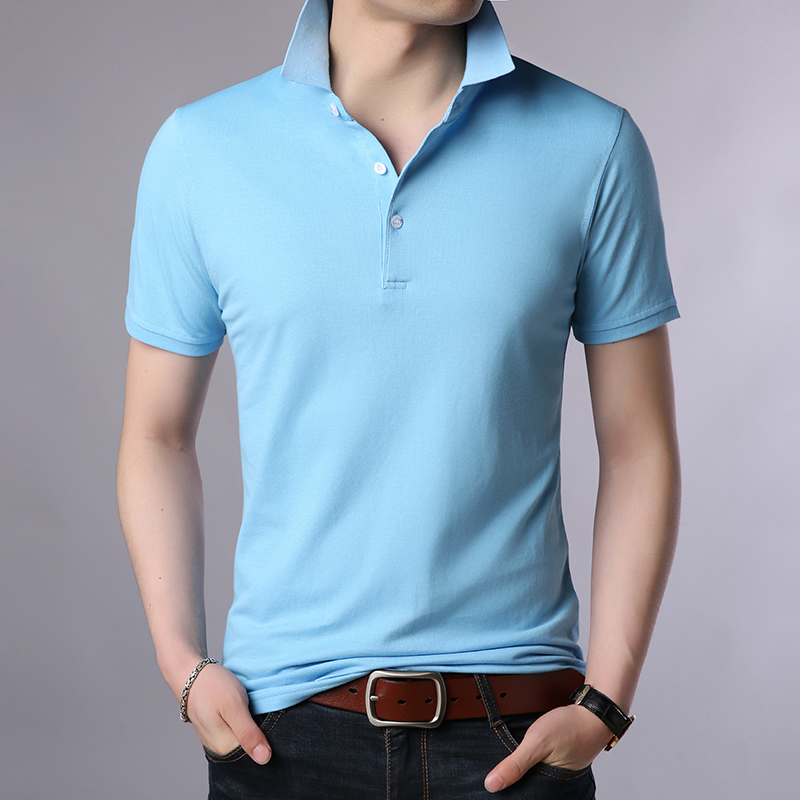 2019 New Fashion Brands Summer   Polo   Shirt Mens Solid Color Short Sleeve Slim Fit Top Grade Boys Poloshirt Casual Men's Clothing