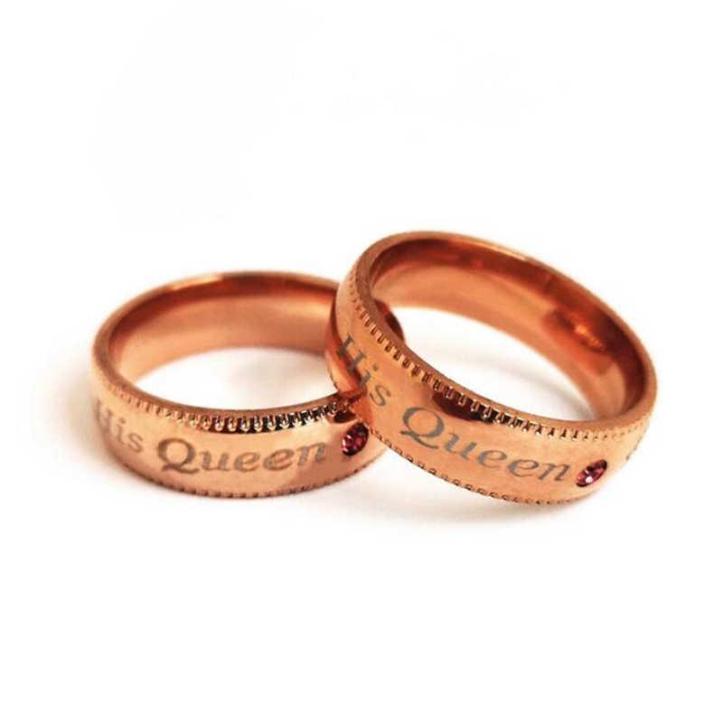 สัญญาคู่แหวนอินเทรนด์ของเธอKing &ราชินีของเขาที่กำหนดเองc rytalหินมงกุฎC Harmสแตนเลสแหวนแต่งงานสำหรับผู้หญิงผู้ชาย