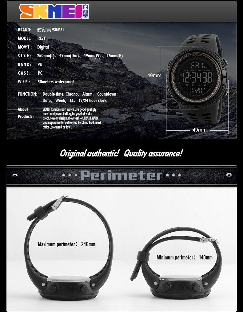 SKMEI Brand Men s Fashion Sport Watches Chrono Countdown Men Waterproof  Digital Watch Man military Clock Relogio Masculino 3e702bd084
