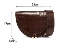 Women Crocodile Semicircle Saddle PU Leather Shoulder Bags (4 colors)