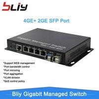 Bliy smart switch managment маленький настольный управляемым media converter с 2 sfp порт и 4 Ethernet порты Ethernet FTTH