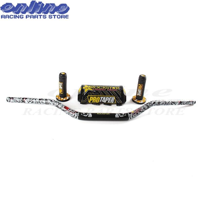"1 1/8"" Fat Bar 28MM Handlebars+Grips+Bar Pad Motorcycle MX"