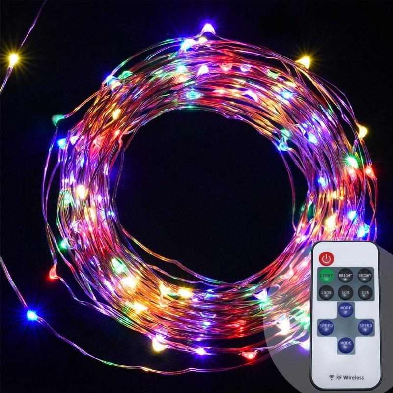 10m 100 33ft RF fjärrkontroll dimbar LED-koppar trådsträng lampa - Festlig belysning - Foto 3