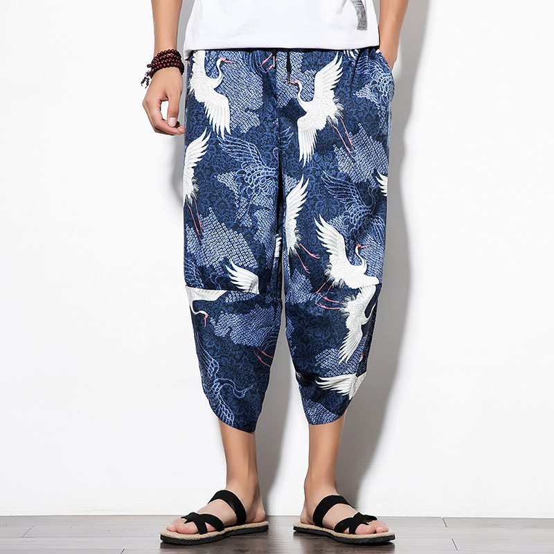 Trousers Male Harem-Pants Streetwear Print Loose Cool Cotton Linen Chinese-Style Hip-Hop