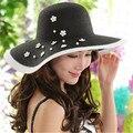Сомбреро женщин летние шляпы, девушка трикотажные большой bongrace соломы sunhat пляж шляпы для женщин
