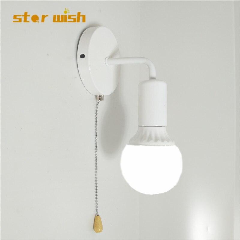 Estrella deseo simple luz de pared con tirar interruptor blanco negro de plata arreglar bombilla cama habitación lámpara de pared 110 V 220 V