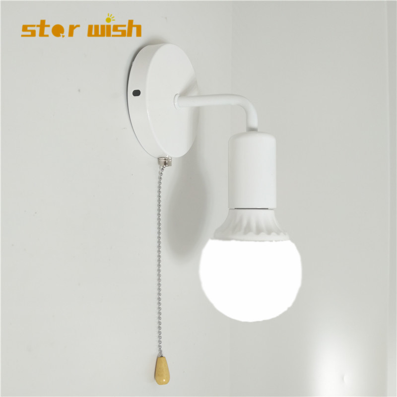 star wish simple wall light with pull switch white black silver fix bulb bed room living room wall lamp 110v 220v