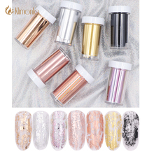 7Pcs Laser Starry Nail Foils Holographic Rose Gold Silver Stickers Paper Wraps Decals Manicure Art Decorations