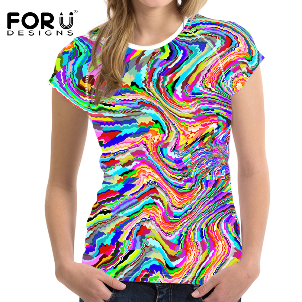 FORUDESIGNS Bright Mixed Color T-Shirt til kvinder Stilfuld Lady - Dametøj - Foto 4