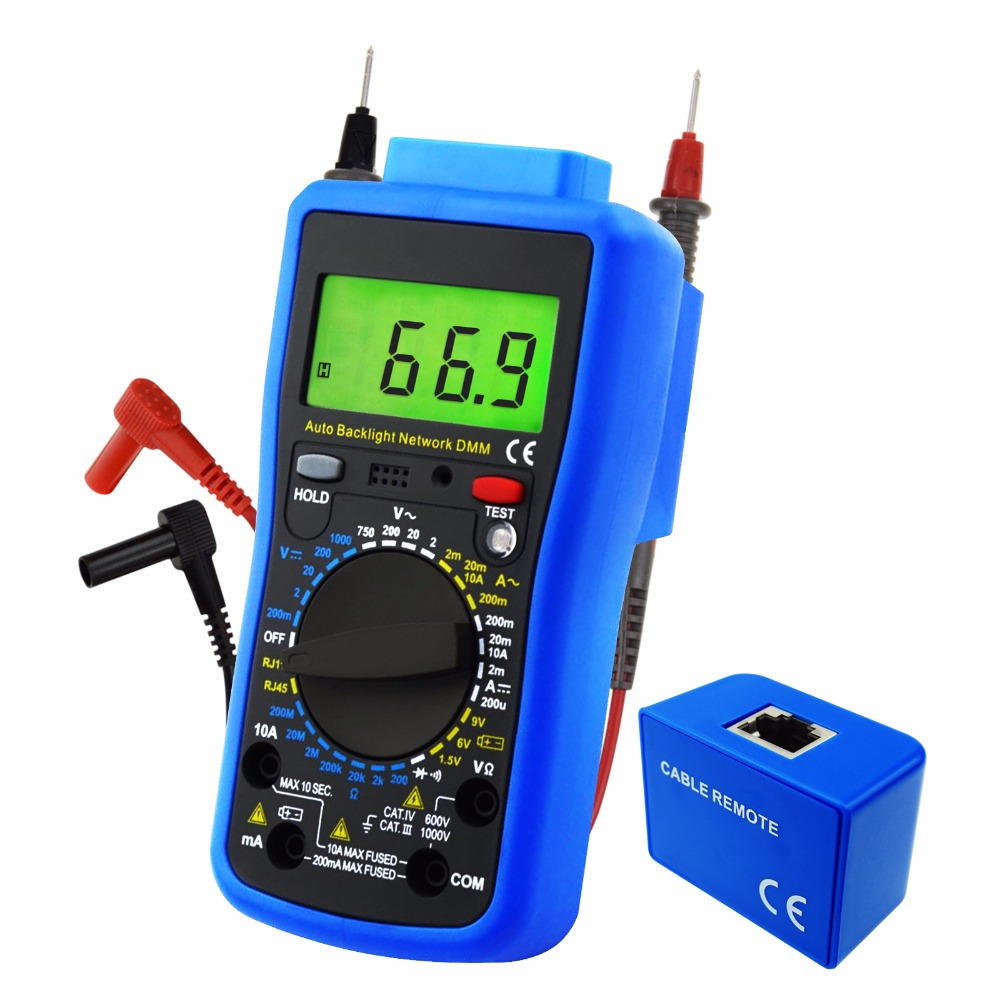 Network Digital Multimeter Tester Multi Meter AC/DC Voltage, AC/DC Current, Resistance, Diode Continuity Test Cable RJ45 digital clamp meter multimeter dc ac voltage current resistance diode continuity tester 33mm jaw opening