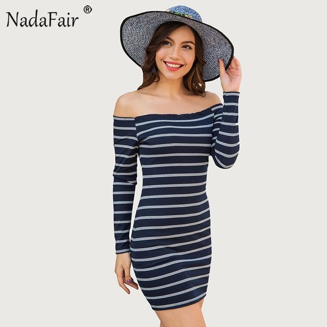 Nadafair Autumn Knitted Off Shoulder Long Sleeve Striped Dress Women Sexy  Mini Casual Wrap Elegant Thin Bodycon Dress 47f799f88499