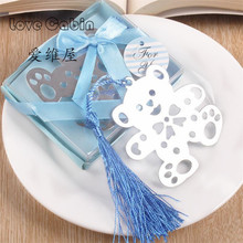 Cute bear Design Wedding Bookmark Favors With Tassel And Gift Box Baby Shower Souvenirs  student creative bear bookmark 50pcs