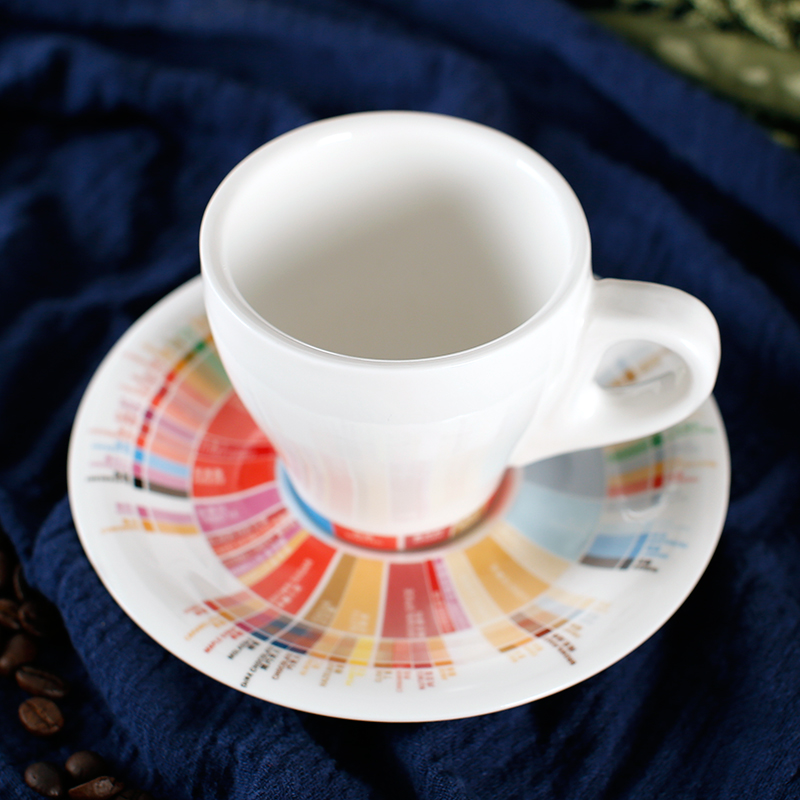 170ml /280ml thick body ceramic tulip coffee cappuccino cup and saucer in flavor wheel design