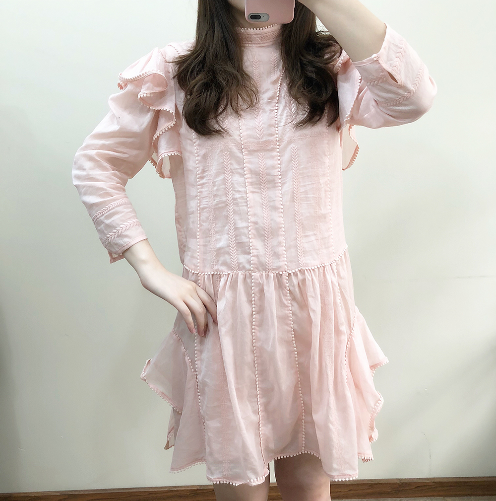 WISHBOP Short ALBA DRESS White Black Pink embroidered cotton dress Round neck LONG sleeves Ruffles shoulders