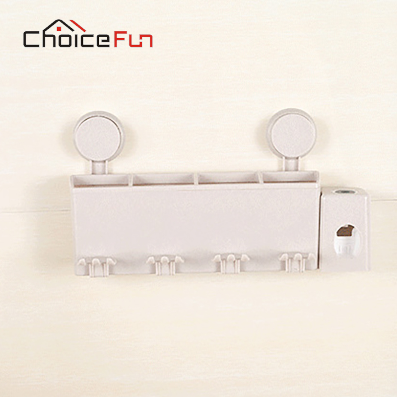 CHOICE FUN Bathroom Toothbrush Holder Wall Automatic Toothpaste Dispenser Plastic Toothbrush Holder Set Bathroom Accessory Set