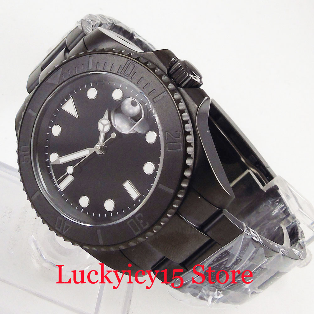 Sterile Mechanical Men's Watch Sapphire Glass Auto Date PVD Case 40mm Wristwatch(China)