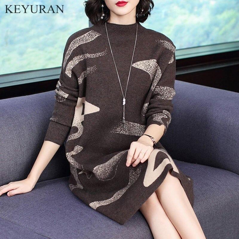 2019 automne hiver chaud femmes robe nouvelle mode grande taille lâche mi-long demi haut col en tricot femmes pull robe M-XXXXL