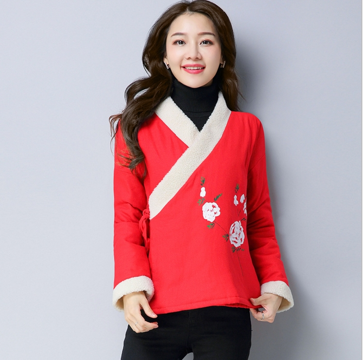 Retro double cotton prints and cashmere Hanfu thickened  tea clothing female red pink China style coat