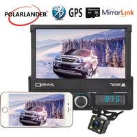 1 DIN Car GPS Navigation 7 Inch Retractable U Disk Playback High Definition Reversing Image Car Radio Bluetooth Hands free