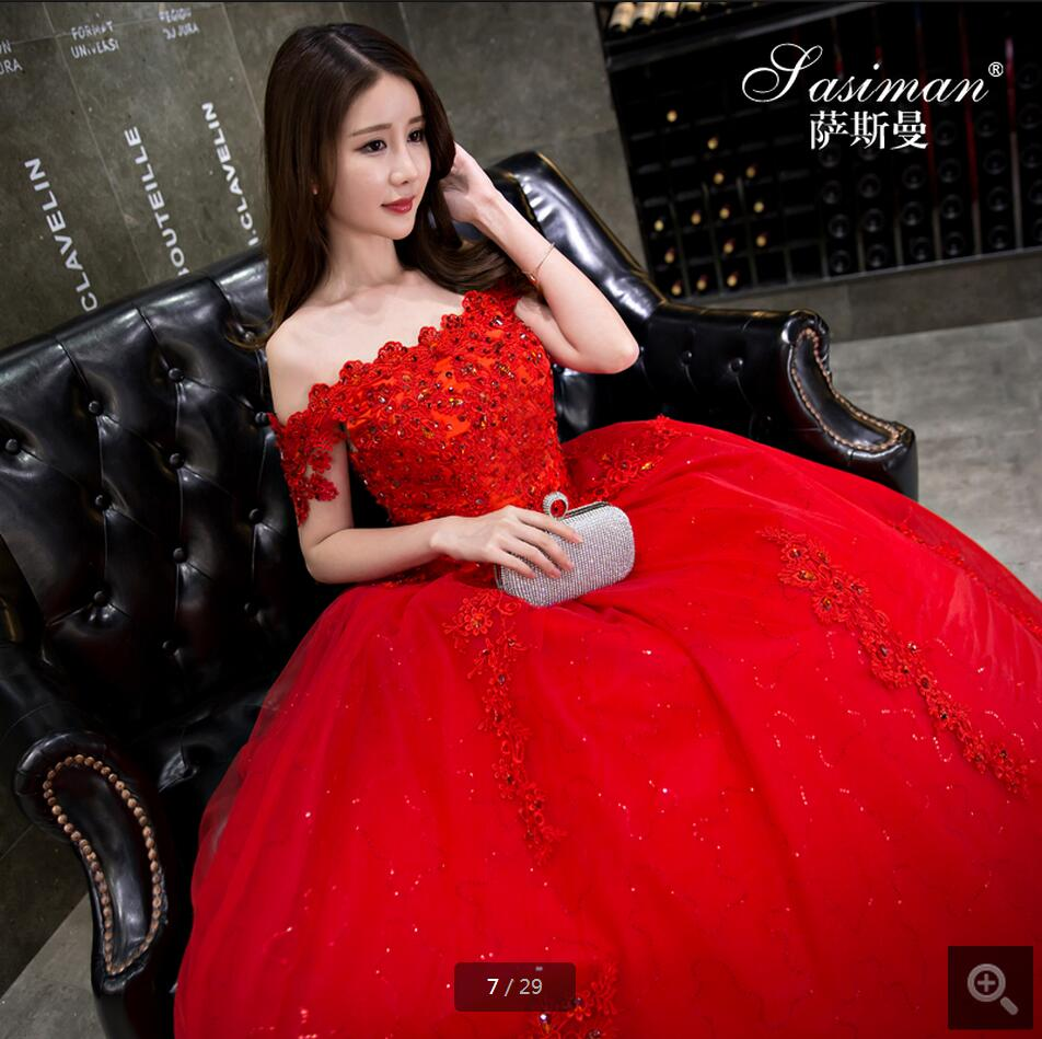 Vestidos De Novia Ball Gown Red Wedding Dress Off The Shoulder Short Sleeve Gowns Beading Sequined Formal Bride Dresses: Red Diamond Wedding Dresses At Reisefeber.org