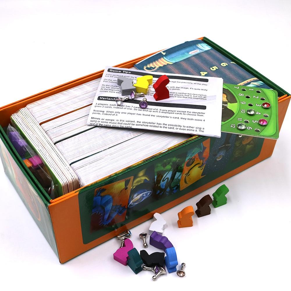 Jogo de tabuleiro Dixit baralho 1 + 2 obscura + 3 + 4 + 5 + 6 + 7 + 8 cartões de jogo de madeira coelho Russo e Inglês regras para dropshipping