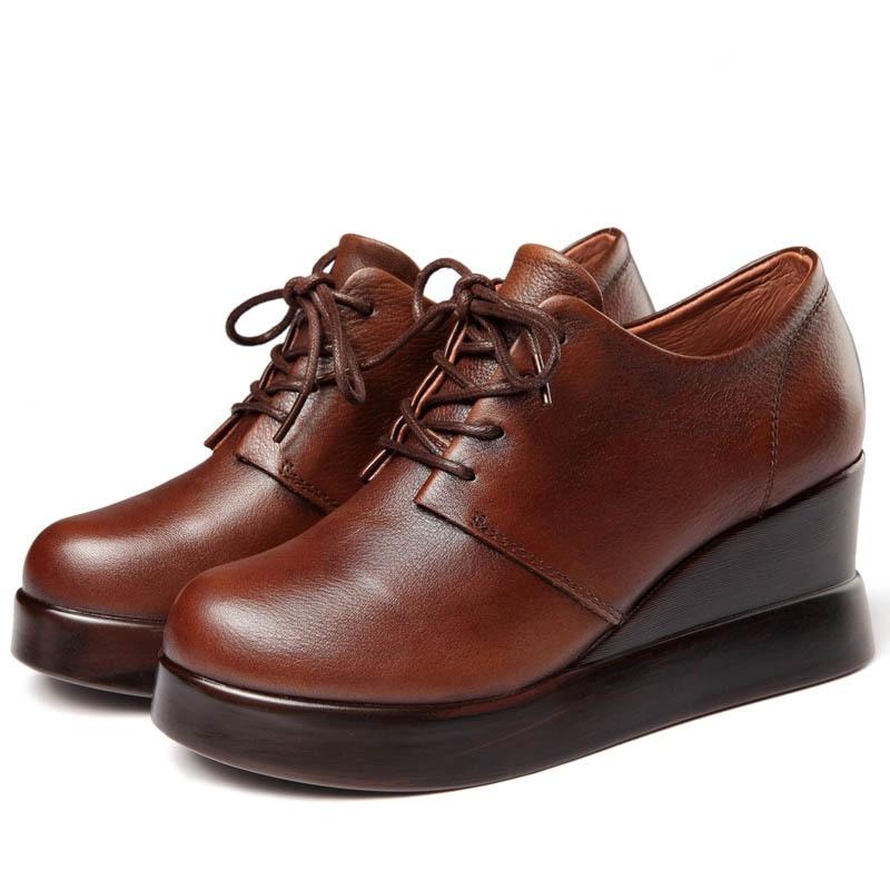 Schuhe Verkauf High Neue Mode Elegante Volles Echtes Lässig Heißer Frühling Hang Heels 2019 Leder Frauen brown Schwarzes Komfort Ferse xYwdHpH4q