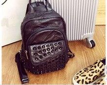 2015 новый дизайн мягкой овчины заклепки женская рюкзак натуральная кожа сумка опрятный стиль девушки
