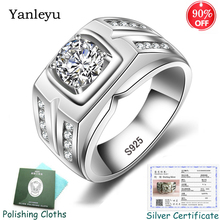 Send Silver Certificate! Yanleyu Big Boss Jewelry Ring 925 Sterling Silver 7mm AAA Zircon Wedding Engagement Rings for Men PR259