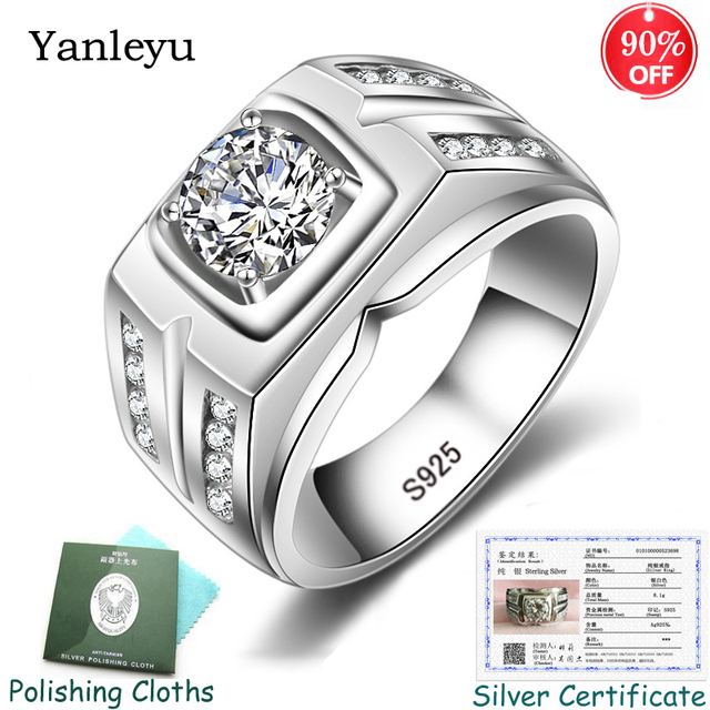 送信シルバー証明書! Yanleyu big boss ジュエリーリング 925 スターリングシルバー 7 ミリメートル aaa ジルコン結婚式の婚約指輪男性 PR259